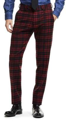 Todd Snyder Black Label Made in USA Plaid Flannel Suit Trouser in Red