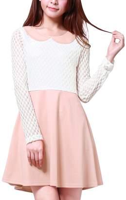 Allegra K Women's Contrast Color Above Knee Mesh Panel Dress M