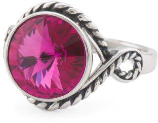 Sterling Silver Swarovski Crystal Scarlet Rope Ring