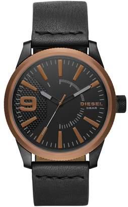 Diesel Men's Black 'Rasp' Leather Strap Watch