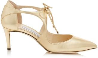 Jimmy Choo VANESSA 65 Shiny Gold Metallic Leather Pointy Toe Pumps