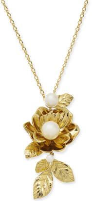 "Kate Spade Gold-Tone Imitation Pearl Rose Pendant Necklace, 14"" + 3"" extender"