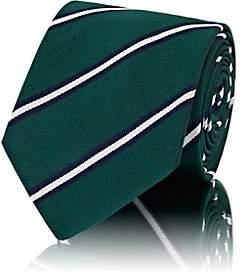 Barneys New York Men's Striped Silk Faille Necktie - Green