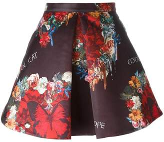 Philipp Plein floral and butterfly print skirt