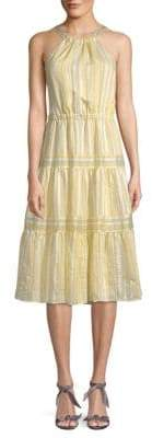Rebecca Taylor Striped Tiered Halter Dress