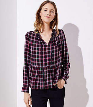 LOFT Plaid Tie Neck Peplum Blouse