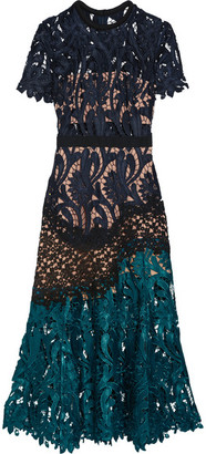 Self-Portrait - Prairie Guipure Lace Midi Dress - Midnight blue $510 thestylecure.com