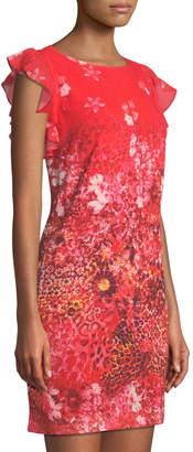 T Tahari Floral Animal-Print Ruffle-Shoulder Dress