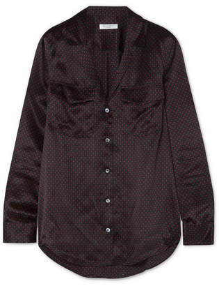 Equipment Ansley Polka-dot Washed Silk-satin Shirt - Black