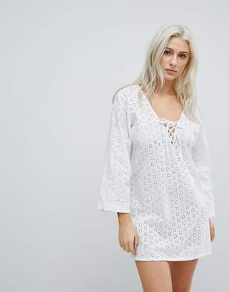 Liquorish Crochet Effect Beach Dress