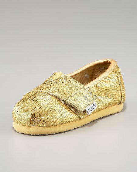 TOMS Tiny  Glitter Slip-On, Gold