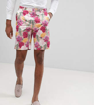 Asos DESIGN TALL Wedding Skinny Smart Shorts In Pink Floral Print