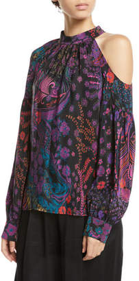 Josie Natori Cold-Shoulder Floral-Print Silk Top