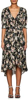 Icons Women's Ruffle Floral Wrap Dress - Black