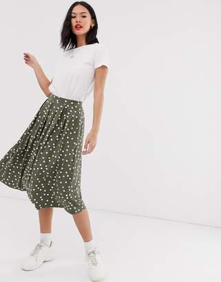 Asos Design DESIGN midi skirt with box pleat in polka dot print