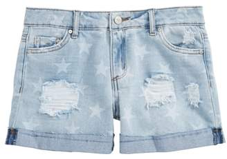 Tractr Star Roll Distressed Denim Shorts