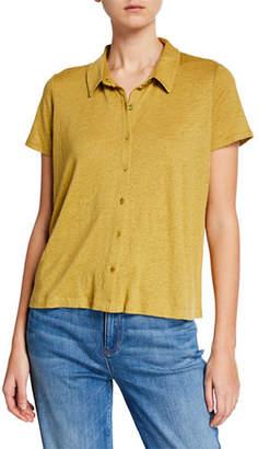 Eileen Fisher Short-Sleeve Button-Front Organic Linen Jersey Top