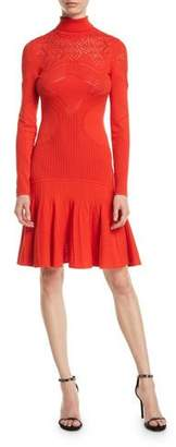 Roberto Cavalli Mock-Neck Long-Sleeve Pointelle Knit Dress