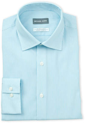 Michael Kors Aqua Stripe Regular Fit Stretch Dress Shirt