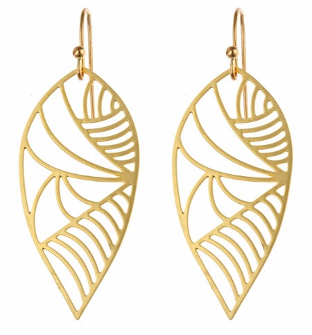 Kris Nations Gold Deco Leaf Earrings