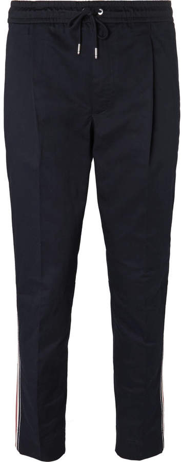 Tapered Grosgrain-Trimmed Stretch-Cotton Gabardine Drawstring Trousers