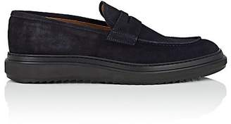 Barneys New York MEN'S WEDGE-SOLE SUEDE PENNY LOAFERS