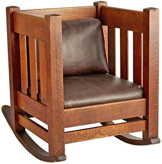 Rejuvenation Arts & Crafts Oak Cube Rocking Chair w/ Leather Upholstery