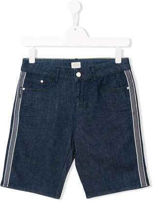 Armani Junior TEEN side-striped denim shorts