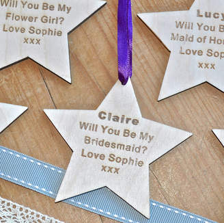 Sweet Pea Design Will You Be My Bridesmaid? Wooden Star