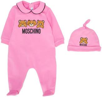 Moschino Kids bear print pyjama & beanie