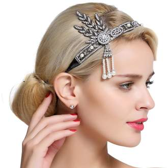FAIRY COUPLE Bling -Tone Flapper Headband Leaf Simulated Pearl Wedding Tiara Headpiece