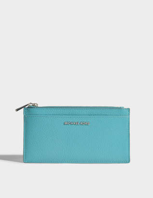 MICHAEL Michael Kors Large Slim Card Case in Tile Blue Mercer Pebble Leather