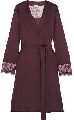 Hanro Estelle Lace-paneled Modal And Silk-blend Jersey Robe - Burgundy