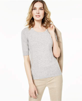 Charter Club Elbow-Sleeve Cashmere Sweater