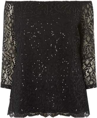 89afe50ffb53d Dorothy Perkins Womens   Dp Curve Black Sequin Embellished Lace Bardot Top
