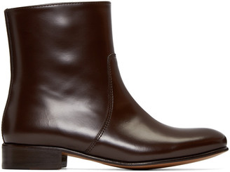 A.P.C. Brown Leather Richard Boots $500 thestylecure.com