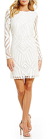 DKNY DKNY Long-Sleeve Geo Lace Sheath Dress