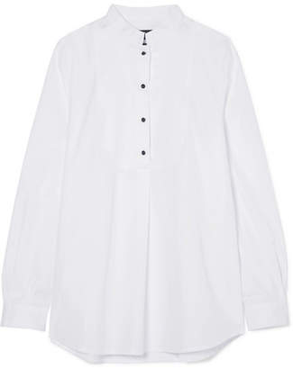 A.P.C. Christina Crystal-embellished Piqué-paneled Cotton-poplin Blouse - White