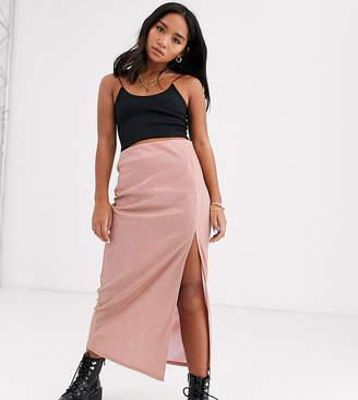 Asos DESIGN Petite sparkle bias slip midi skirt with thigh split