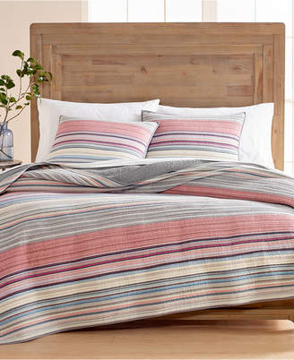 Martha Stewart Collection Rustic Yarn-Dyed Stripe 100% Cotton King Quilt, Created for Macy's