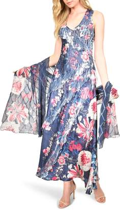 Komarov Side Ruffle Charmeuse & Chiffon Maxi Dress with Shawl