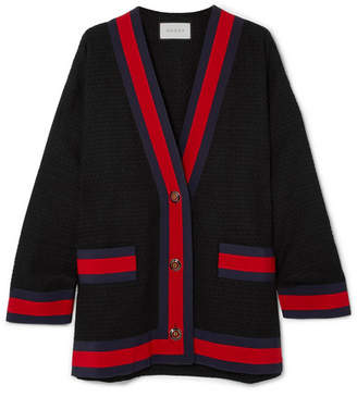 Gucci Grosgrain-trimmed Cotton-blend Tweed Cardigan - Black