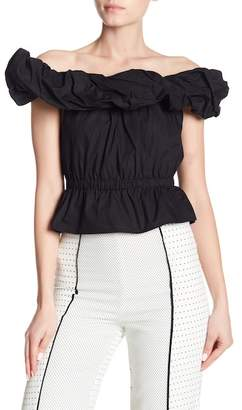 ALPHA & OMEGA Daniella Off-The-Shoulder Tie Back Blouse
