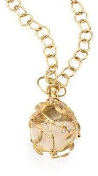 Temple St. Clair Tree of Life Rock Crystal, Diamond& 18K Yellow Gold Large Vine Amulet