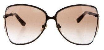 Bottega VenetaBottega Veneta Intrecciato-Trimmed Round Sunglasses