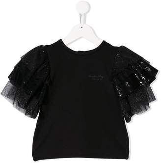 Givenchy Kids sequin tulle sleeve top