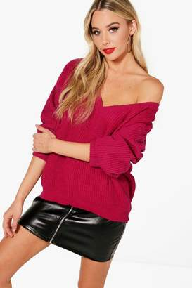 boohoo V Neck Oversized Jumper