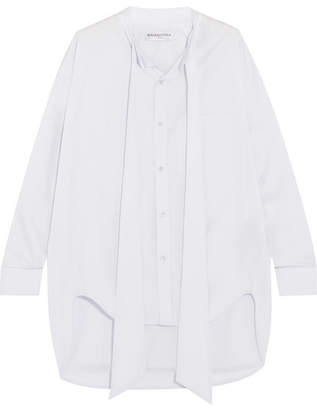 Balenciaga Swing Printed Cotton-poplin Shirt - Sky blue