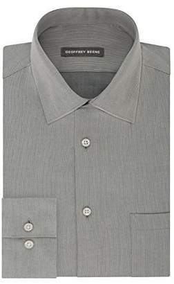 Geoffrey Beene Mens Dress Shirts Fitted Textured Sateen Spread Collar
