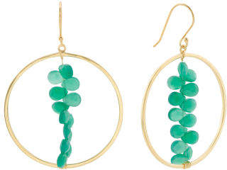 Made In India 18k Plated 925 Green Onyx Circle Earrings